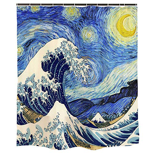 Ofat Home Van Gogh Starry Night and Japanese The Great Wave Painting Artistic Blue