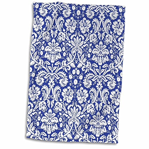 3D Rose Royal Blue and White Damask Pattern-Stylish Elegant Victorian Vintage French Floral Swirls-Navy Towel, 15' x 22', Multicolor