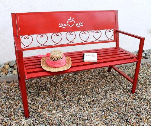 DanDiBo Gartenbank Passion Rot 121495 Bank Sitzbank 120cm aus Metall Eisen Blumenbank Garten - 2