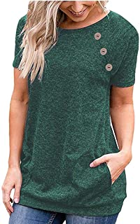 68684ebc38aa Women s Top Plus Size Casual Short Sleeve Button T-Shirt Tunic Blouse  Pockets