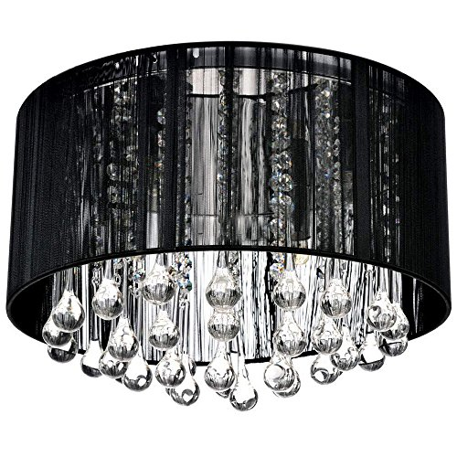 CARYS Kronleuchter Modern Kristall Deckenleuchte Rund Schwarz Rustikale Deckenlampe Wohnzimmer Lüster Schlafzimmer Stoff Lampe Lampenschirm - 4 x E14 Leuchtmittel Kinderzimmer