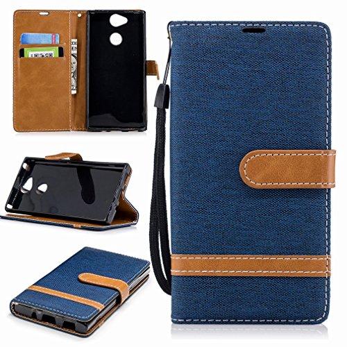 Laybomo Funda para Sony Xperia XA2 Carcasa Bolsa Tapa Cuero Billetera Magnética Protector Silicona Suave TPU Flip Cover Funda Sony Xperia XA2 Avec Fente pour Carte, Estilo de Jeans (Azul Profundo)