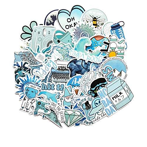 JIAQI Pegatinas de dibujos animados azules para portátil, moto, monopatín, equipaje, nevera, portátil, juguete, 50 unidades