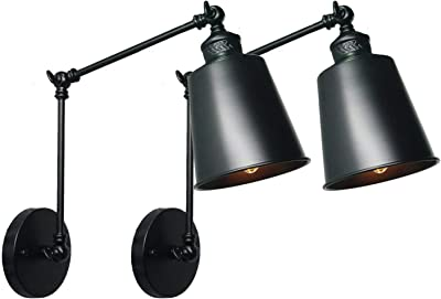 Wray Modern Industrial Up Down Swing Arm Wall Lights Set