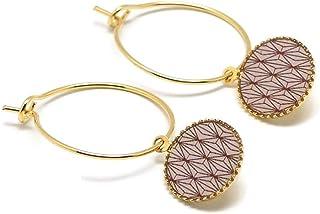 Mini orecchini cerchio art deco rombo rosa cipria malva oro ottone resina 24K regali personalizzati regalo di natale amici...