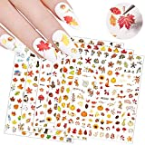 6 Sheets 3D Fall Nail Art Stickers Thanksgiving Autumn Nail Decals Pumpkin Squirrel Turkey Maple Leaves Nail Art Design Sticker for Women Girls Manicure Decorations Thanksgiving Party Favors