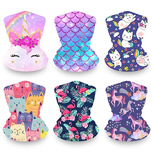 Kids Neck Gaiter Face Maks 6 Pack, Reusable Bandana Face Madk for Girls