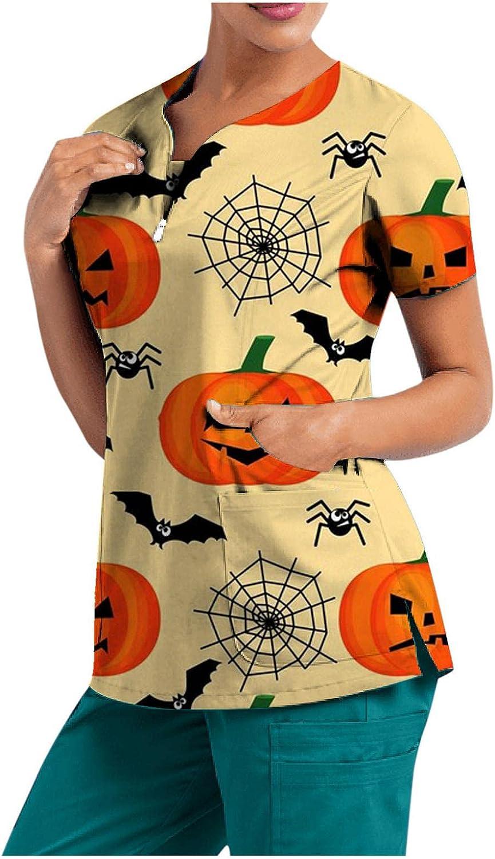 MASZONE Scrub_Top for Womens Halloween Pumpkin Ghost Nurses_Tunic Workwear Top V-Neck Work Uniform Short Sleeve T-Shirts