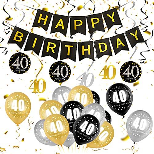 40 Oro Negro Plata Globos Cumpleaños Decoracione, 40 Años de Antigüedad Fiesta de Cumpleaños Decoraciones, 40 Oro Negro Plata Globos Decoración Hombres y Mujeres, 40 Cumpleaños Adorno en Espiral