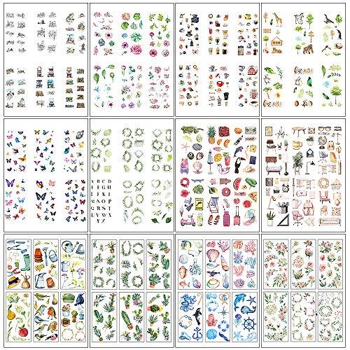 MOPOIN Sticker für Fotoalbum, 72 Blatt Scrapbooking Aufkleber für Notizbuch Kalender Stickerbuch Tagebuch Fotoalbum DIY Dekoration (12 Themen)