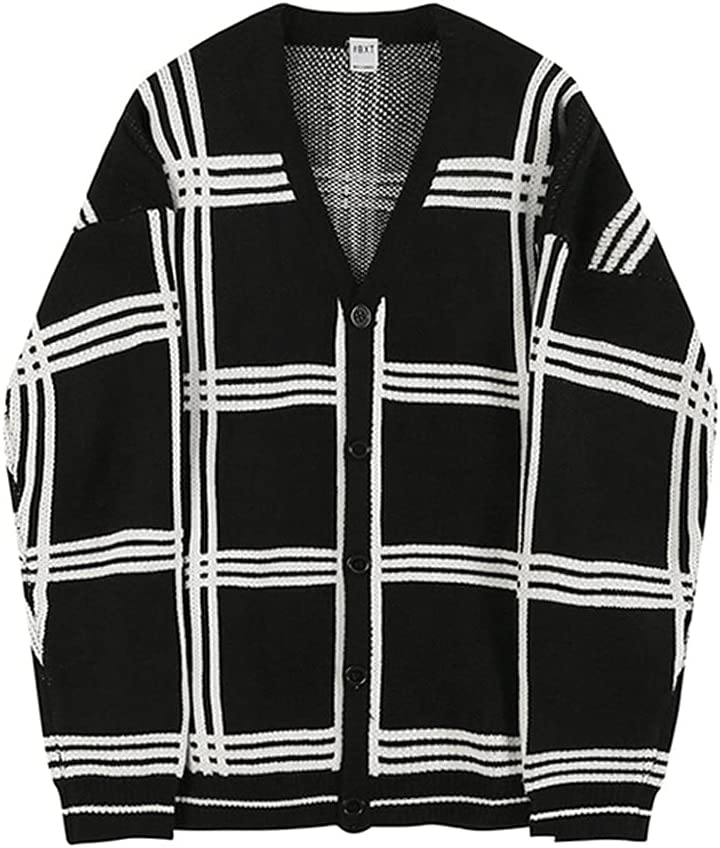 GYZCZX Korean Style Sweater Casual Loose Cardigan Fashion Knitted Oversized Long Sleeve Sweater Men's Clothing (Color : Black, Size : XXL Code)