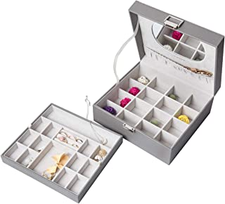 X•Rhea Jewelry Box, 2 Layers 32 Compartments Jewelry Organizer Box for Earring Ring Necklace Bracelet Storage (Grey)