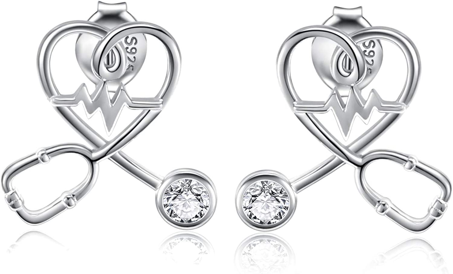 Stethoscope Max 69% OFF EKG Medicine Special price for a limited time Jewelry Stud Necklace Earrings Nu Rings