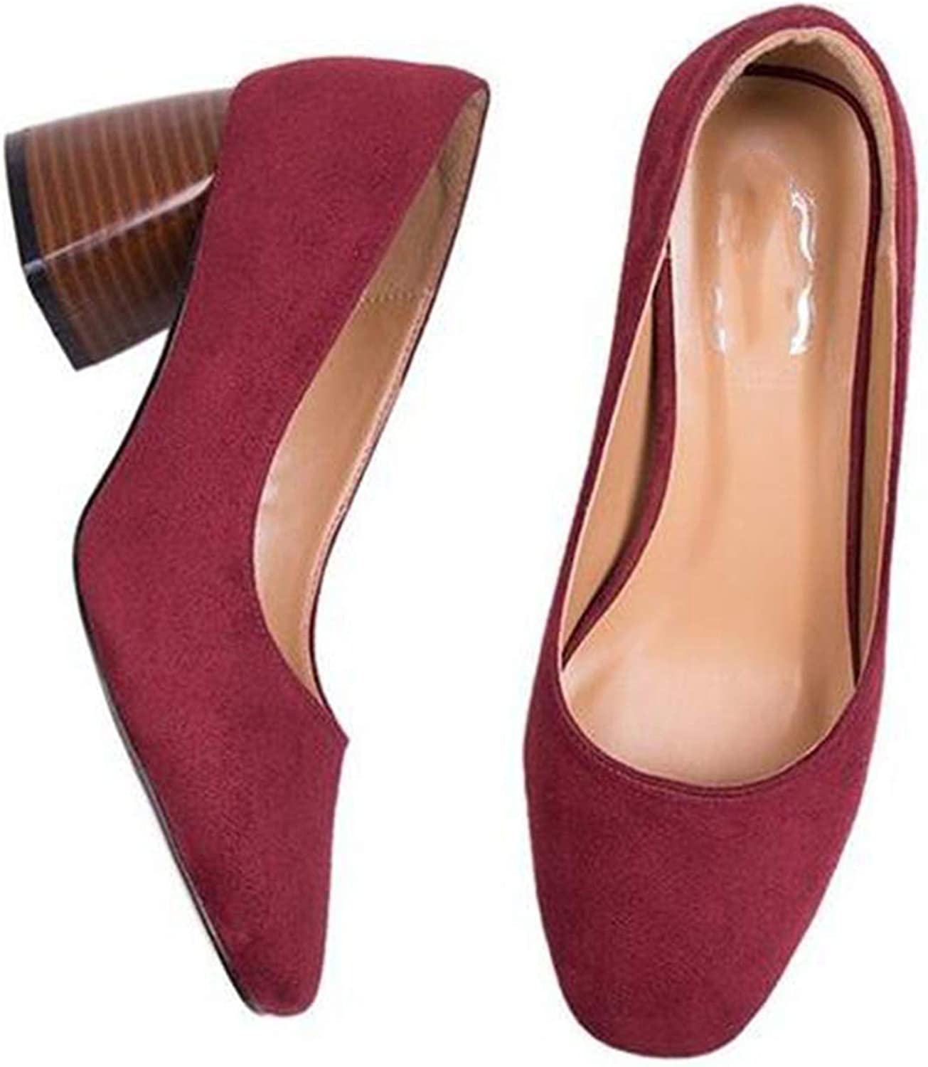 FINDYOU-pumps shoes Coarse Heel high Heel Round Head Single shoes Woman and Shallow Mouth Spring.