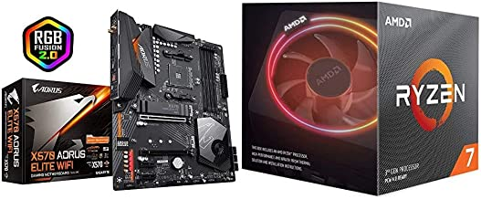 Gigabyte X570 AORUS Elite WiFi (Front USB Type-C/RGB Fusion 2.0/M.2 Thermal Guard/Gaming Motherboard) & AMD Ryzen 7 3700X ...