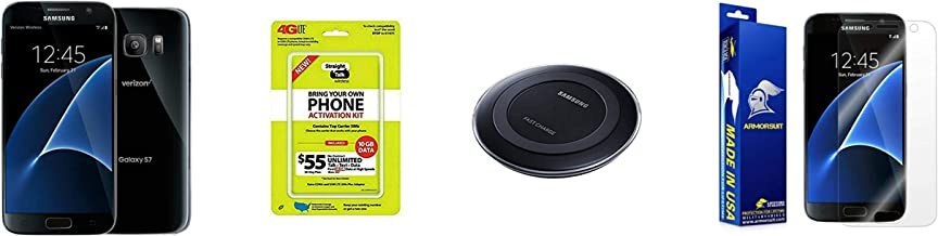 Straight Talk Samsung Galaxy S7 Black Onyx 32GB With Samsung Wireless Quick Charging Pad & Armor Suit Full Body Screen Protector Bundle (Renewed)