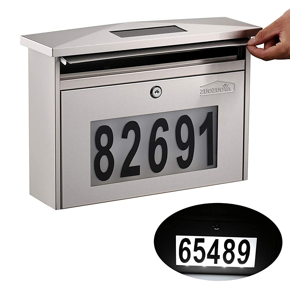 Wall Mount Locking Mailbox - Solar House Numbers Light Illuminated at Night - Waterproof Stainless Steel Mail Box Outdoor with Key
