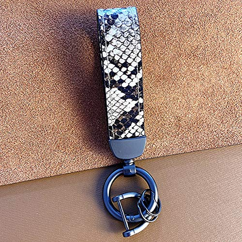 BING FENG Cuero Genuino Llavero Lanyard Hombres Mujeres Cebra del Leopardo patrón de la Serpiente sostenedor del Anillo de la Llave del Coche Regalo de la joyería