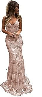 Lover Kiss Women's Silver Sequin Mermaid Evening Dress Long V-Neck Spaghetti Strap Backless