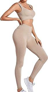 Buscando Women's Yoga Outfits Set 2 Piece,High Waist Athletic Leggings Tummy Control+Bras Women Workout Outfits Sets