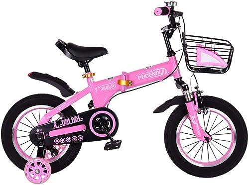 Kinderfürrad, Faltbare Babyfürrad 3-6 Jahre alt Kinderwagen Jungen und mädchen Stoßdämpfer fürrad 14 Zoll Baby fürrad,Rosa