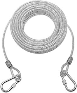 Mihachi Reflective Tie Out Cable for Dog Up to 125 Pounds, 50-Feet, Heavy Weight for Medium to Large Dogs, Silver