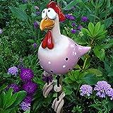 Milont Gartendekoration aus Keramik, in Form eines Huhn-Huhns, dekorativ, lustig, Dekoration für den Garten, Hähnchenhof, Gartenfigur