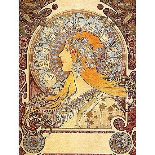Wee Blue Coo Alphonse Mucha Zodiac 1896 Old Master Painting Art Print Poster Wall Decor 12X16 Inch