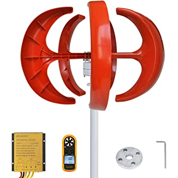 Pikasola Wind Turbine 200W max 220W 12V 5 Blade Wind Vertical Axis Generator 3 Phase AC Permanent Magnet Generator Wind Turbine Kit with Controller for Hybrid Wind Solar System