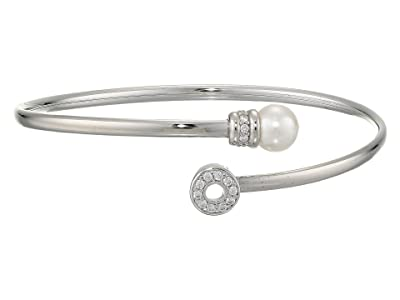 Majorica Giselle Sterling Silver Pearl and CZ Bangle (White/Silver) Bracelet