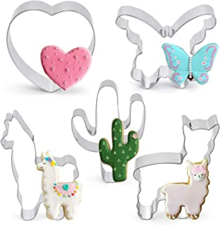 Cookie Cutter Set 5 Piece Llama Cactus Heart Butterfly Shaped Stainless Steel Cutters Molds Cutters for Making Muffins, Cake, Fondant,Pancake Biscuits,Sandwiches