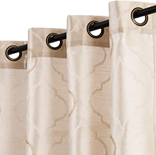 jinchan Faux Silk Floral Curtains Moroccan Tile Design Embroidered Grommet Top Semi Sheer Curtains for Living Room Bedroom 2 Panels 95 Inch Light Gold