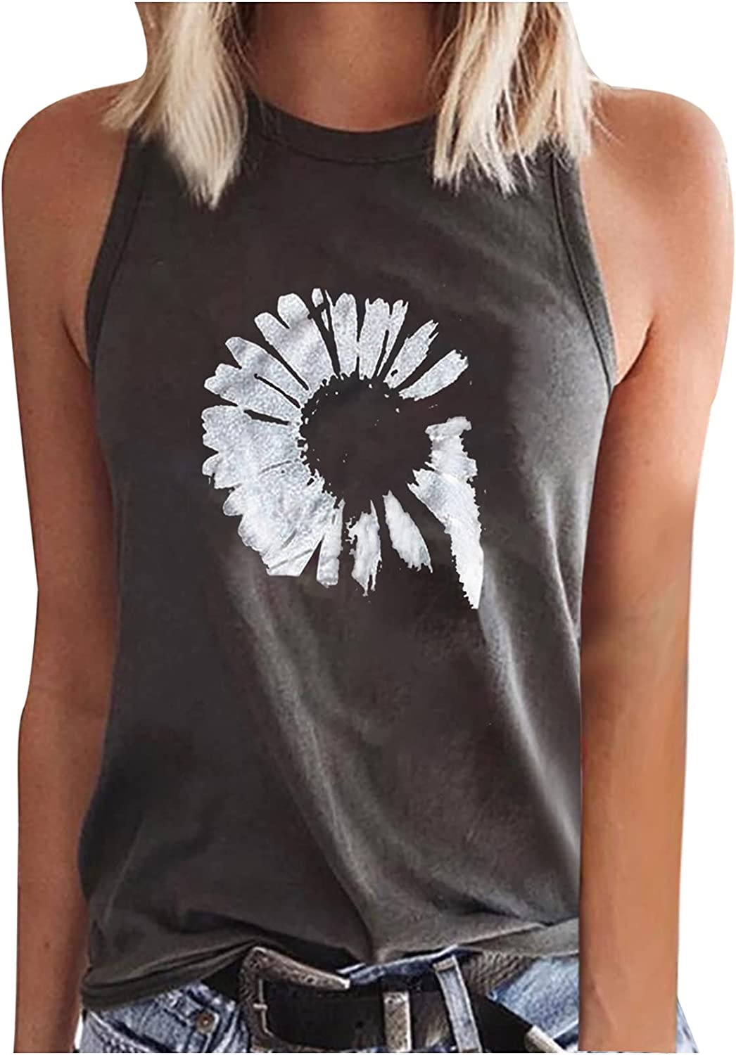 Womens Summer Sexy Workout Tops Fashion Casual O-Neck Sleeveless Loose Fit Tunic Tees Sunflower Printed Vest Blouses