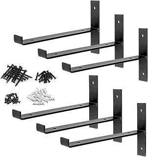 DILNAZ ART 6 Packs T Shelf Bracket Heavy Duty Industrial Farmhouse Steel Metal Wall Floating Brace Support with Lip for DI...