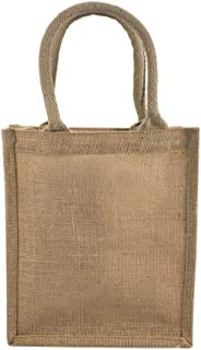 Jute Burlap Tote Bags Soft Cotton Handles Laminated Interior Reusable Grocery Shopping Bags w/Full Gusset by TBF Bags Smal...