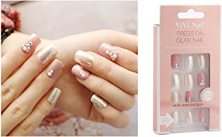 VIKSON INTERNATIONAL 24 Pcs SEXY Bridal Pink Silver mermaid color fake nails slim art salon nail crystal diamond white nail with 10 gm nail glue
