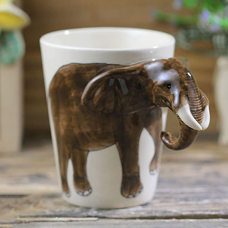 250ml Hand-Painted Animal Ceramic Mug Ranking TOP17 Max 67% OFF Coffee Elephant Mu Cartoon
