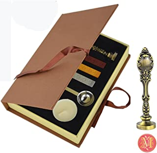 VIVISKY(TM) Stamp Seal Sealing Wax Vintage Classical Old-fashioned Antique Alphabet Initial Letter Set Brass Color Creative Mysterious Stamp Maker Kit (M)