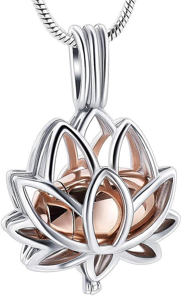 shajwo Cremation Jewelry Lotus Flower Urn Necklace for Ashes for Women Men Dream Catcher Memorial Keepsake Locket Hollow Human Pet Ashes Pendants