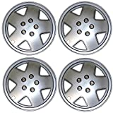 Tuningpros WC3-14-9050-S - Pack of 4 Hubcaps - 14-Inches Style Snap-On (Pop-On) Type Metallic Silver Wheel Covers Hub-caps
