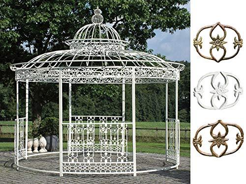 CLP XXL Cenador Romantik de hierro pulverizado L Ø 5 m, altura 4,45 m L redondo carpa con elegantes adornos l jardín enrejado con paneles laterales, Color blanco envejecido.
