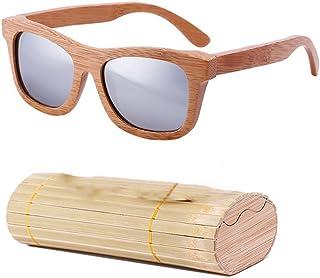 lzndeal Bois Lunettes de Soleil en Bambou Lunettes de Soleil polarisées Lunettes de Protection avec Une boîte pour Femmes ...