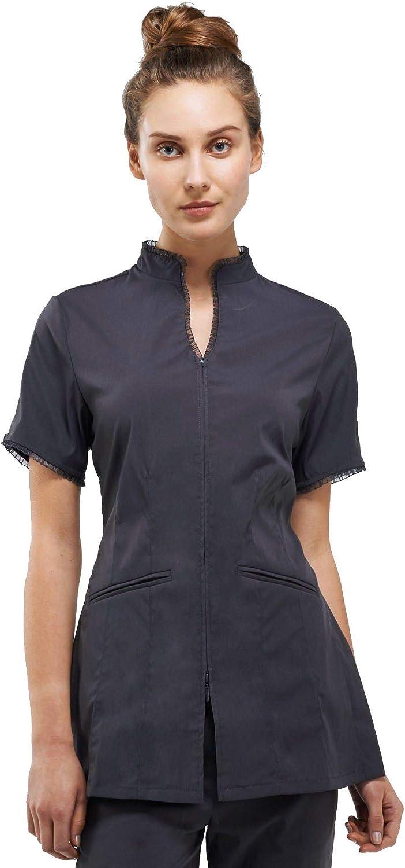 Noel Asmar Uniforms Bella Sheer Ruffle Tunic, Two Front Pockets, Zip Closure