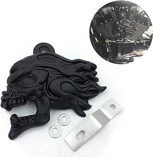 HTTMT MT246-010A Black Skull horn cover Red Light bulb Compatible with 92-20 Harleycowbell all V-rods