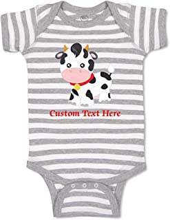 Custom Personalized Boy & Girl Baby Bodysuit Cow Bell Funny Cotton Baby Clothes