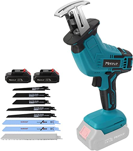 """2021 Reciprocating Saw,Mereced outlet sale 20V 2.0Ah Cordless Battery Powered lowest Sawzall,8 Saw Baldes,0-2800SPM Variable Speed,7/8"""" Stroke Length,Electric Reciprocating Saw for Metal/Wood/PVC Pipe/Tree(2 Batteries) online sale"""