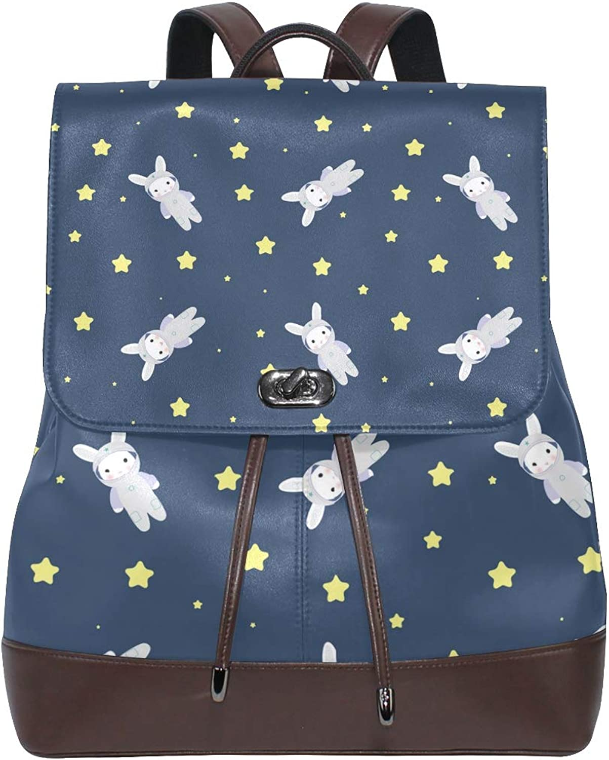 Unisex PU Leather Backpack blueee Cute Astronaut Bunny Print Women's Casual Daypack Mens Travel Sports Bag Boy's College Bookbag