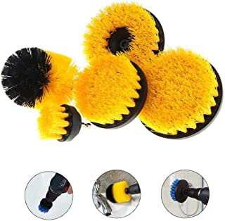 Hamkaw 5pcs Drill Brush Set, Scratch-Free Power Scrubber Cleaning Brush Kit Power Drill Brush Attachments for Grout, Floor, Tile, Bathroom Tub and Kitchen Surface