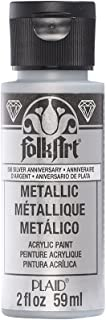 FolkArt Metallic Acrylic Paint in Assorted Colors (2 oz), 506, Silver Anniversary