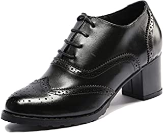 Womens Perforated Lace-up Wingtip Leather Pump Oxfords Vintage Oxford Shoes Brogues